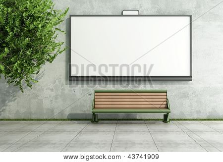 Blank street bilboard on grunge wall with bench - rendering poster