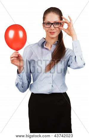 Stylish Girl With A Red Ball