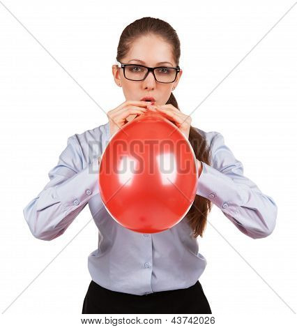 Stylish Girl Inflates A Big Red Ball