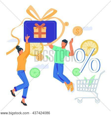 Cheerful Buyers Or Shoppers With Gift Card Or Shopping Voucher. Cashback And Clients Loyalty Program