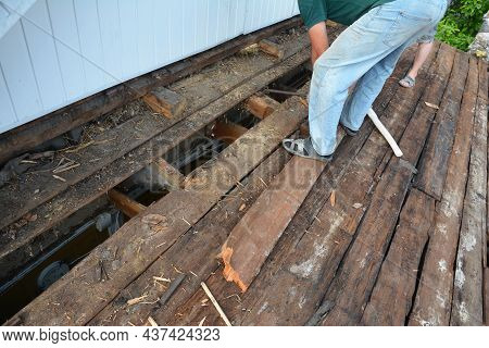 Old Roof Renovation, Roof Repair, And Remodeling. A Man Is Removing Old Rotten Sheathing Boards With