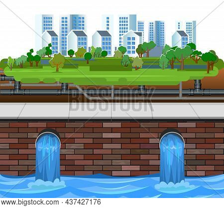 Sewage Discharge. Underground Pipeline. Water Treatment Facilities. Eco-protective Structure. Draina