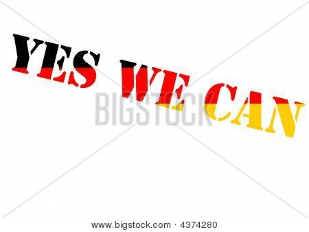 yes we can Obamas slogan in German national colours poster