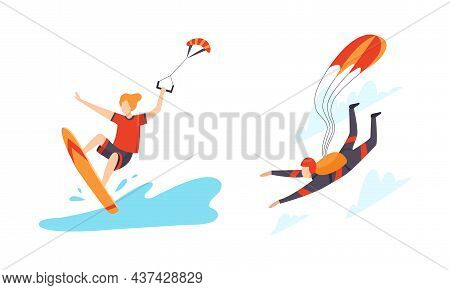 Man Character Engaged In Extreme Sport Windsurfing And Skydiving Vector Set
