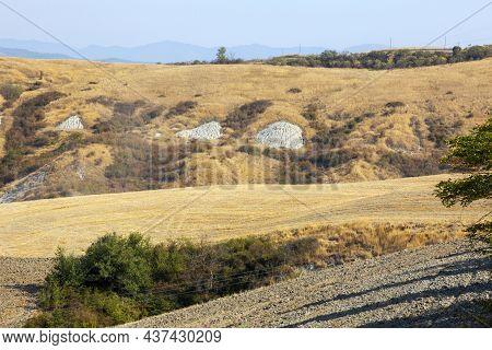 Asciano (si), Italy - August 02, 2021: Typical Scenary Of Crete Senesi, Asciano, Siena, Tuscany, Ita