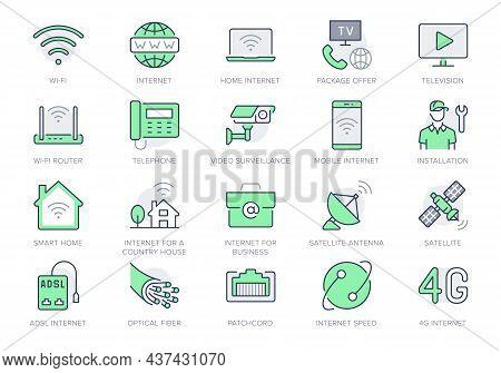 Internet Line Icons. Vector Illustration Include Icon - Satellite Dish, Provider, Wifi, Cctv Camera,