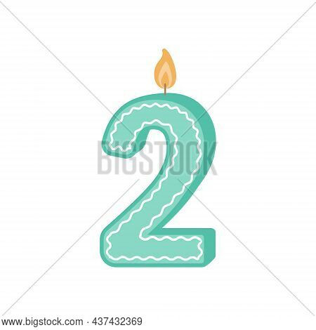 Illustration Of A Birthday Candle Number. The Number Two Candle. A Green Candle For The Second Birth
