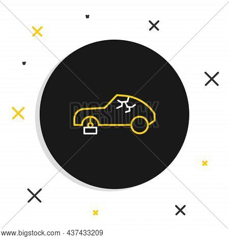 Line Broken Car Icon Isolated On White Background. Car Crush. Colorful Outline Concept. Vector