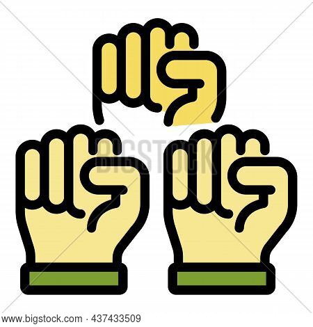 No Racism Fist Icon. Outline No Racism Fist Vector Icon Color Flat Isolated