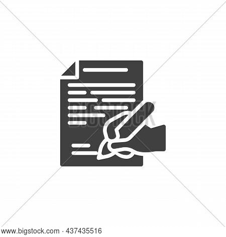 Contract Signing Vector Icon. Filled Flat Sign For Mobile Concept And Web Design. Hand With Pen Sign