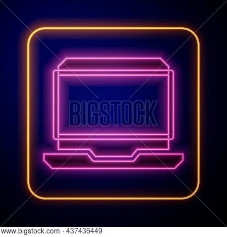 Glowing Neon Laptop Icon Isolated On Black Background. Computer Notebook With Empty Screen Sign. Vec