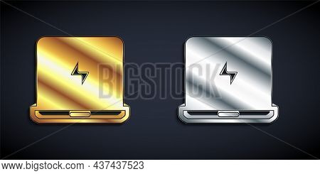 Gold And Silver Laptop Icon Isolated On Black Background. Computer Notebook With Empty Screen Sign.