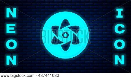 Glowing Neon Test Tube And Flask Chemical Laboratory Test Icon Isolated On Brick Wall Background. La