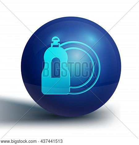 Blue Dishwashing Liquid Bottle And Plate Icon Isolated On White Background. Liquid Detergent For Was