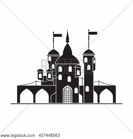 Medieval Castle Vector Icon.black Vector Icon Isolated On White Background Medieval Castle.