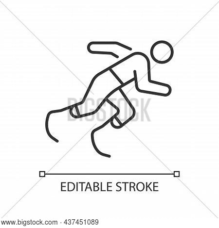 Athletics Linear Icon. Sportsman Run Across Track. Single Sport Competition. Disabled Athlete. Thin