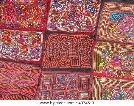 colorfull molas made by kunas a group of natives from Panama. poster