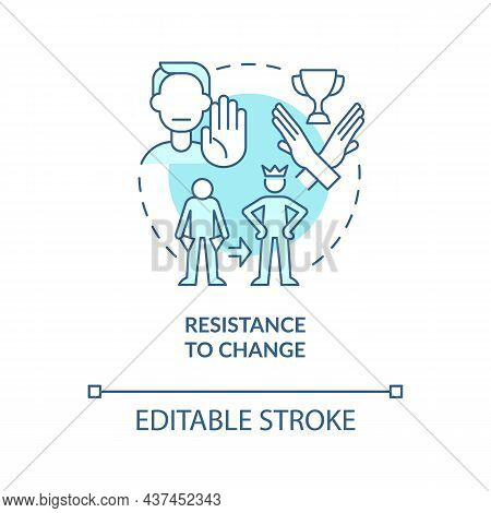 Resistance To Change Blue Concept Icon. Unwillingness To Transform Life Abstract Idea Thin Line Illu