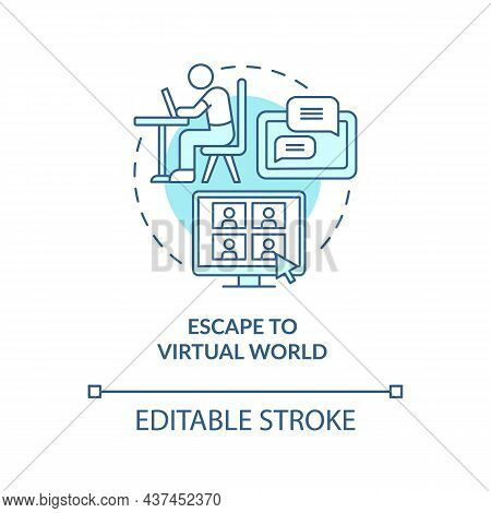 Escape To Virtual World Blue Concept Icon. Virtual Reality Abstract Idea Thin Line Illustration. Gad