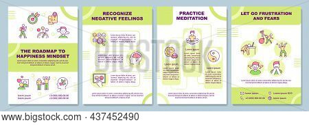 The Roadmap To Happiness Mindset Brochure Template. Flyer, Booklet, Leaflet Print, Cover Design With