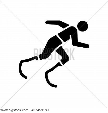 Athletics Black Glyph Icon. Sportsman Run Across Track. Single Sport Competition. Track, Road And Fi