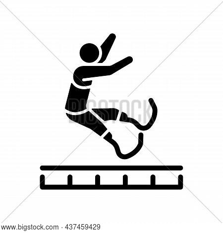 Long Jump Black Glyph Icon. Athletes Compete Jumping For Distance. Horizontal Jump. Track And Field