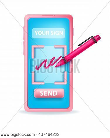 3d Digital Signature Online Document Illustration, Vector Virtual Contract Agreement Application Con