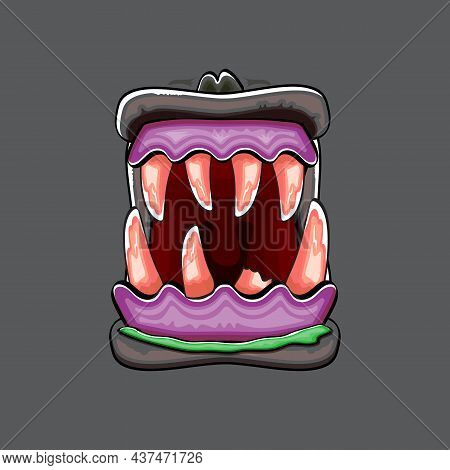 Vector Cartoon Funny Silly Zombie Monster Mouth With Rotten Teeth Isolated On Grey Background. Vecto