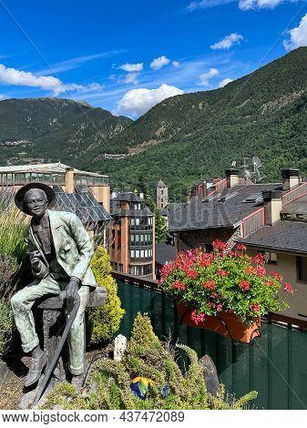 Andorra, Andorra De Vella, June 2021. Beautiful View Of Andorra La Vella, Capital Of Andorra. Summer