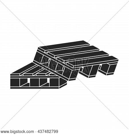 Wooden Pallet Vector Icon.black Vector Icon Isolated On White Background Wooden Pallet.
