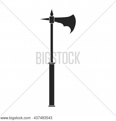 Axe Of Medieval Vector Black Icon. Vector Illustration Weapon Ancient On White Background. Isolated