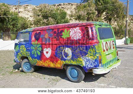 VW Hippie Bus in Matala