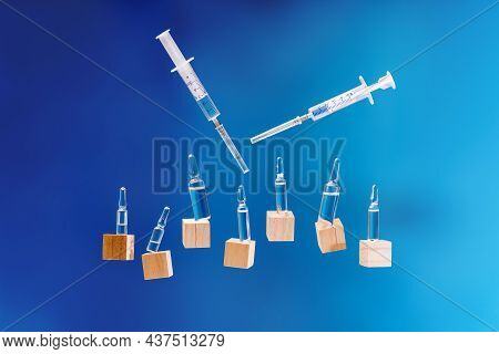 Concept Of Medicine.glass Medical Vials Or Ampoules With Liquid, Banner With Copy Space.medical Ampo