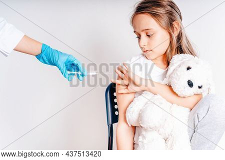 The Girl Does Not Want To Be Vaccinated.flu Influenza Vaccine Clinical Trials Concept, Corona Virus