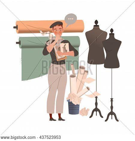 Man Fashion Designer Or Tailor Holding Sketch Paper Of Clothing Garment Model Standing Near Mannequi