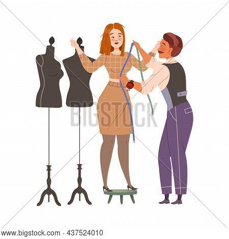 Man Fashion Designer Or Tailor Taking Measurements Of Woman For Clothing Garment Model Vector Illust