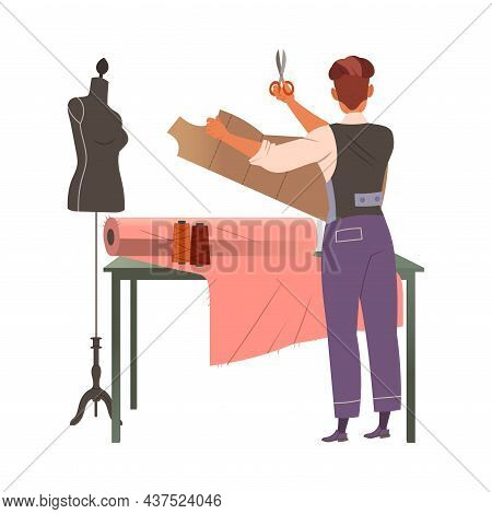 Man Fashion Designer Or Tailor With Scissors Cutting Pattern Of Clothing Garment Model Vector Illust