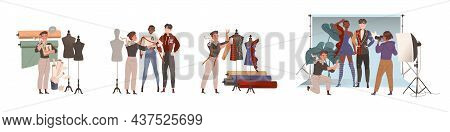 Man Fashion Designer Or Tailor With Fitting And Measuring Clothing Garment Model Vector Illustration
