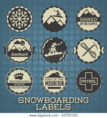 Vector Set: Vintage Style Snowboarding Labels
