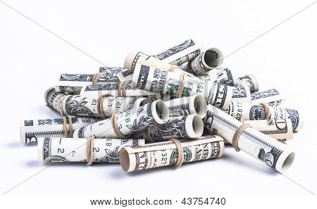Pile of rolled dollars with elastic band isolaten on white background poster