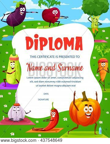 Cartoon Funny Vegetable Characters On Kids Diploma. Child Certificate, Education Graduation Vector D