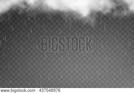 Rain Drops And Clouds, Rainfall On Transparent Background, Vector Falling Raindrops. Rainy Weather A
