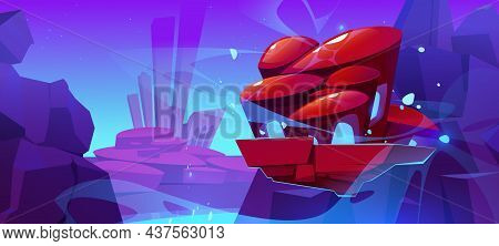 Fantasy Flying Island Above Alien Planet Surface With Mountains And Futuristic Buildings. Vector Car