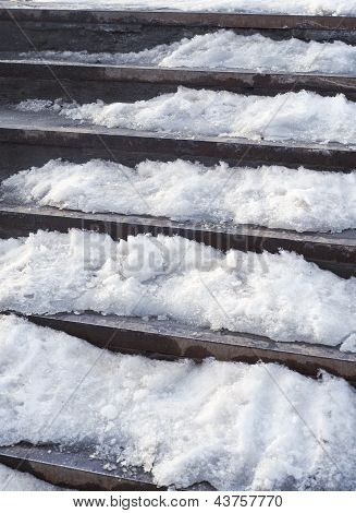 Stairs under snow