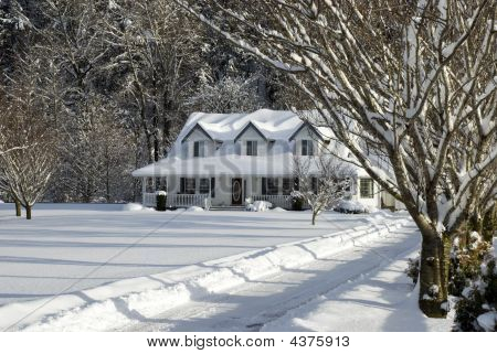 Snow Covered Country House