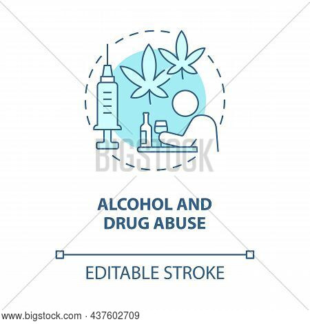 Alcohol And Drug Abuse Blue Concept Icon. Hate Speech Effect Abstract Idea Thin Line Illustration. S