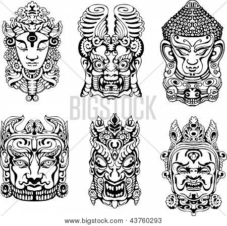 Hindu deity masks. Set of black and white vector illustrations. poster