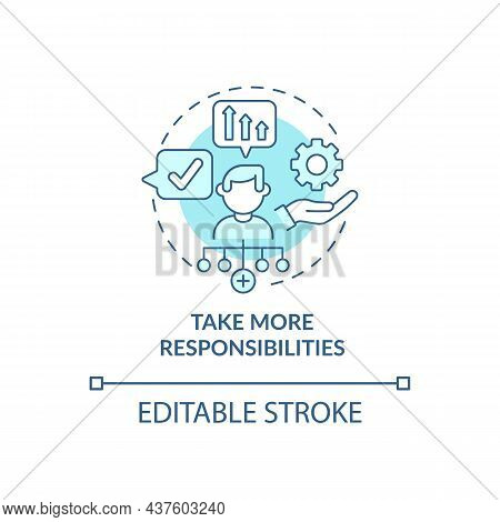 Take More Responsibility Blue Concept Icon. Personal Trait For Employee. Career Advancement Abstract