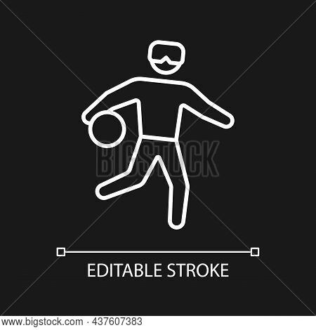 Goalball White Linear Icon For Dark Theme. Sport For Athletes With Vision Loss. Disabled Athletes. T