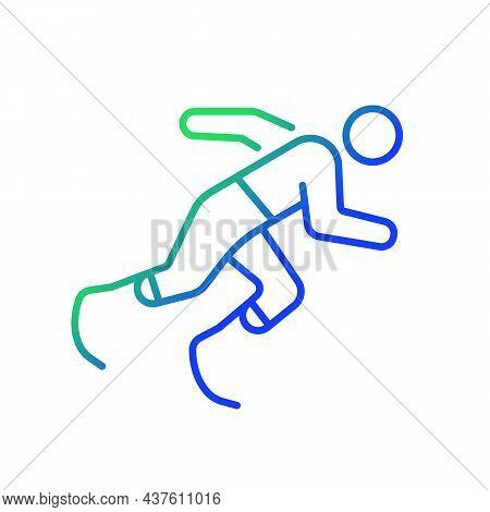 Athletics Gradient Linear Vector Icon. Sportsman Run Across Track. Single Sport Competition. Athlete